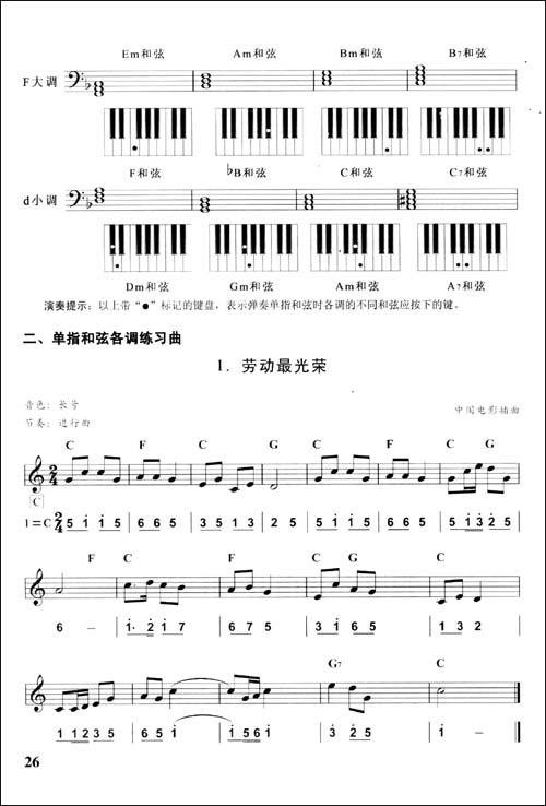 劳动最光荣 2.美好时光 3.鄂伦春舞曲 4.甜瓜的传说 5.秧歌 6.